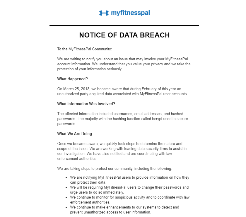 data security and privacy MyFitnessPal