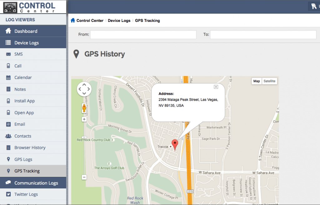Spy Apps GPS History viewer